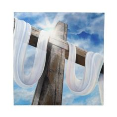 Easter Calvary cross on napkin. Also available as matching placemat and kitchen towel.