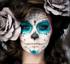 Day of the dead face paint.. I will be lady of the dead for Halloween
