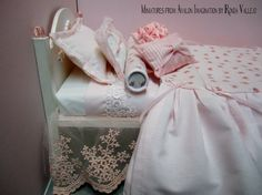 1:6th Scale Barbie or Blythe miniature dollhouse bed by MiniaturesfromAvalon