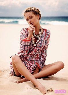 beach dresses, beaches, fashion, tunic, beach outfits, braid, boho, beach styles, tribal prints