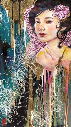 Juuri. #art #illustration #colour #pencils #asian #oriental #flowers #girl