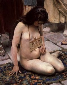 Slave for Sale, 1897, Jose Jimenez y Aranda  (The sign reads Rose / 18 Years Old / For sale 800)  Early Orientalists tended to portray slave girls as dejected and ashamed, as in Jimenez y Aranda's painting above. (Male slaves, when they appeared, tended to be treated as grim and hypermasculine.)  As Orientalists moved away from realistic settings, and took on more explicitly pornographic themes, they began to move away from this poignant-but-dark imagery, as well.