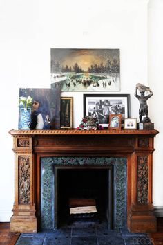 A carved mantle in Bittar's living room is a lesson in carefree layering.