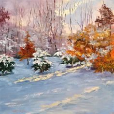 """""""Comin on Christmas 10 x 10   oil on canvas $300.00"""" - Original Fine Art for Sale - © Vincenza Harrity"""