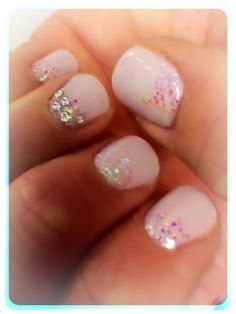 Wedding day nails using CND Shellac Romantique, iridescent glitter, and gemstones.