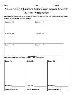 SOCRATIC SEMINAR HELPFUL DOCUMENTS - TeachersPayTeachers.com