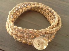 Stardust Beaded Wrap Bracelet or Anklet by psihandmadeit on Etsy, $18.00