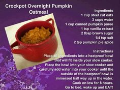 Crock-pot Pumpkin Oatmeal