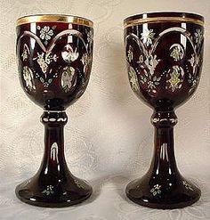 Antique Pair 19th c. Bohemian Glass Goblets