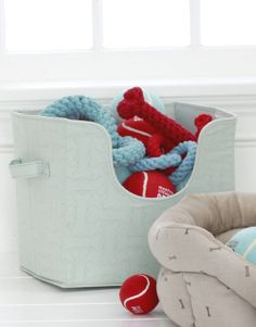 Don't leave your pets out of spring cleaning! This #MarthaStewartPets Toy Storage Bin, available in three colors, helps keep all of your pet's items organized. Only at #PetSmart.