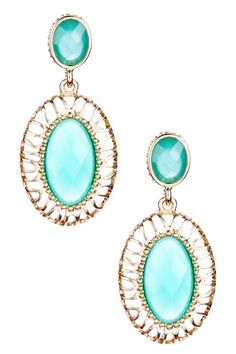 Turquoise & Gold Double Stone Drop Earrings by Olivia Welles on @HauteLook