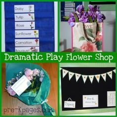 Flower Shop dramatic play center for your #childcare #preschool or #kindergarten classroom via   www.pre-kpages.com/dramatic-play-flower-shop/