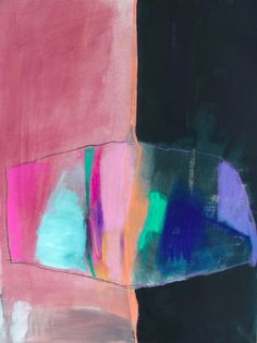 middle atlas, acrylic and pastel on paper. #Colorful #abstract #art by jenny a.a.
