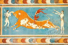 Ruins of the Capitol of Minoan Crete (c.1700BC). Fresco with Minoan Bull. Knossos. Crete, Greece.