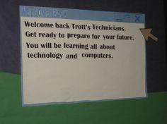 """Welcome Back"" Windows bulletin board"