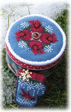 "Just Nan cross stitch ""Snow"" tin and needle mitten"