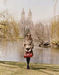 Eniko Mihalik | Paule Ka F/W 12 campaign autumn fashion, fall fashions, fall clothes, style, parks, new york city, central park, bags, coat