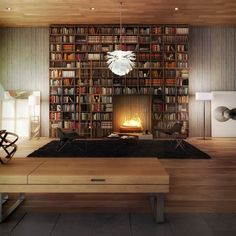 bookcase with built-in fireplace.