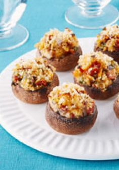 Mediterranean Stuffed Mushrooms – Large fresh mushrooms are stuffed with sun-kissed Mediterranean ingredients, including basil, sun-dried tomatoes and olive oil.