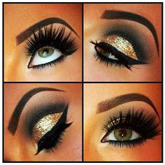 Gold & black smoky eye - don't know if I could ever be this precise but it looks cool!