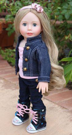 Visit New, Trendy Denim Jacket Outfits for American Girl Dolls at www.shop.harmonyclubdolls.com