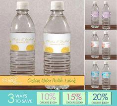 water bottlelabel, june wedding, water bottle labels, water bottles