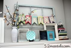 window frame, layered frames, branches with faux leaves from scrapbook paper