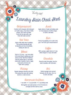 Laundry stain cheat sheet