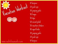 Vacation Workout (No-equipment) | www.nutritiouseats.com