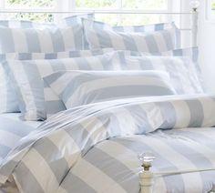 PB Classic Stripe 400-Thread-Count Duvet Cover, Twin, Porcelain Blue