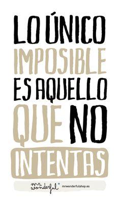 Lo único imposible es aquello que no intentas - Mr. Wonderful