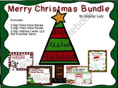 Christmas Bundle from Monkey_Lady on TeachersNotebook.com (37 pages)  -  2 & 3 Digit Place Value, 2 Digit Addition, number sense