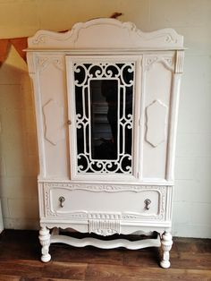 White Painted Antique Hutch - $450