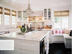 window benches, cozy kitchen, window seating, nook, kitchen benches