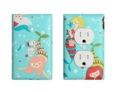 Mermaid Light Switch & Outlet Cover / Nautical Girl Bathroom Decor / Aqua Pink Blue / Under the Sea Nursery