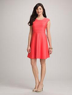 Textured Coral Fit-and-Flare Dress   Dressbarn