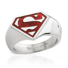 Superman Theme Stainless Steel Red Enamel Band Ring Size 10