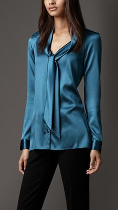 On my wish list :) - Burberry London Tie Neckline Blouse