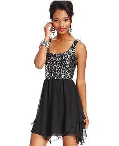 Speechless Juniors Dress, Sleeveless Sequin Chiffon - Juniors Homecoming Dresses - Macy's