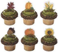 Fall Harvest Themed Cupcake Picks