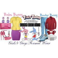 """Tiny Toon Adventures - Babs & Buster Bunny"" by gamer-geek-chic on Polyvore"