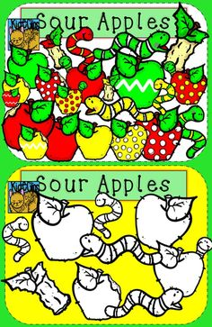 Apple and Worm Clip Art for Back to School!