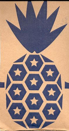 Pineapple stencil print with stars