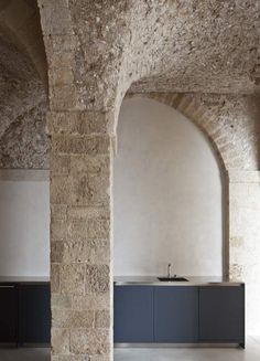 View of the old stone structure inside the renovated Jaffa Flat by Pitsou Kedem.