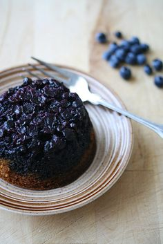 Blueberry-Cornmeal upside down cake