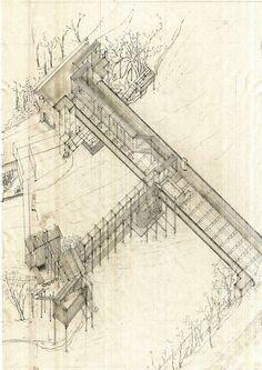 'Elderly Bath House Under the Bridge' by Lesley Sjafei, axonometric, pencil   via Drawing Architecture