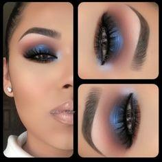 nail, eye makeup, color, blue smokey eye, dramatic eyes
