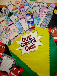 """We read """"The Crayon Box That Talked.""""  On the crayons, each student wrote about how they were different from everyone else."""