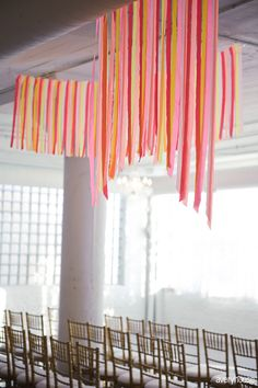 flagging tape ceiling install - jesi haack design