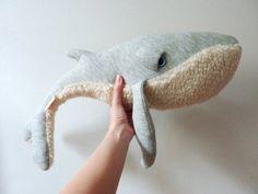 Handmade Plush Whale Stuffed Animal  Cotton jersey by BigStuffed